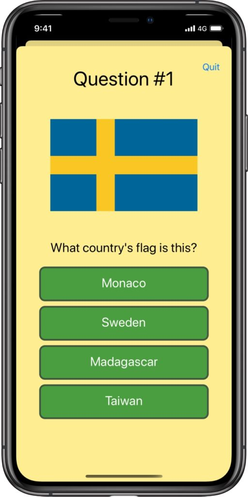 A quiz question showing the image of a flag with four alternatives to choose from.
